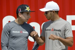 BARCELONA, SPAIN - MAY 09: Jorge Lorenzo (L) and Lewis Hamilton are seen during the Reebok Crossfit workout at Arc del Trionf on May 9, 2012 in Barcelona, Spain. (Photo by David Ramos/Getty Images)