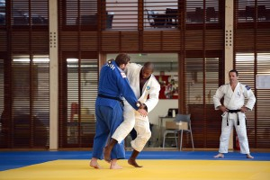 OMNISPORTS - JO 2012 - 2012 - JUDO dion (alexis) riner (teddy) Le President de la Republique, François Hollande, vient encourager les athletes participants au JO de Londres 2012 L'(20/08/2012)