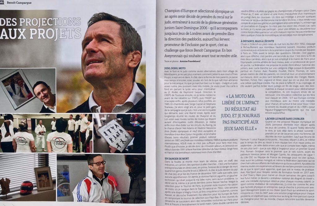 """Article """"Des projections aux projets"""" Benoit Campargue dans """"L'esprit du judo"""" Janvier 2020"""